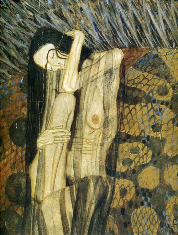 «Бетховен Фриз, Враждебные силы (Мучительная печаль). Фрагмент», 1902