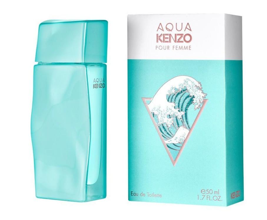 Aqua, Kenzo, апелює до морських круїзів, з нотами акватичної свіжості, мандарина, чорної смородини, листя малини і пелюсток магнолії