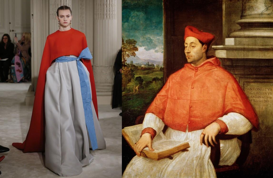 Valentino Couture весна-лето 2018;  Портрет кардинала Антониотто Паллавичини, Тициан, 1441–1507