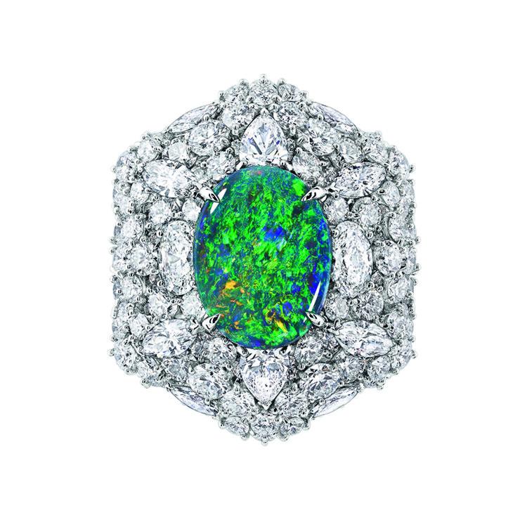 Кольцо Fascinante Opal  из коллекции Dior et d'Opales, белое золото, бриллианты, черный опал, Dior High jewellery