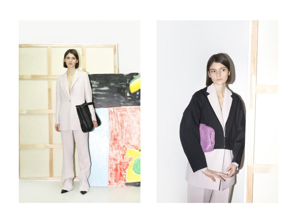 Слева - брюки и жакет Akris, сумка Bottega Veneta, туфли Aquazzura; справа - бомбер Celine, клатч Bottega Veneta, жакет и брюки Akris