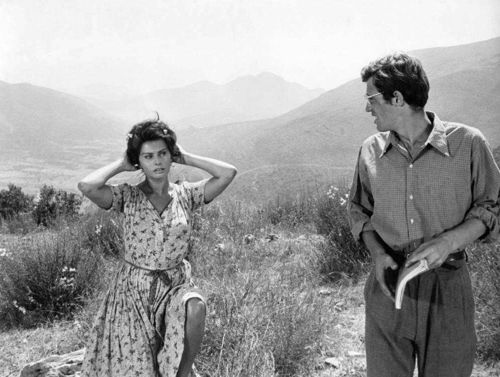 """С актрисой Софи Лорен на съемках фильма """"Чочара"""", 1960"""