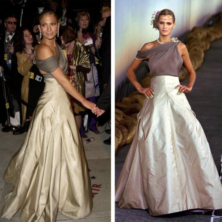Дженнифер Лопес в атласном платье на одно плечо из коллекции Chanel Couture на вечеринке Vanity Fair Oscars Party, 2001