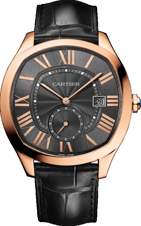 Часы Drive de Cartier, корпус из розового золота, ремешок из кожи аллигатора, CARTIER