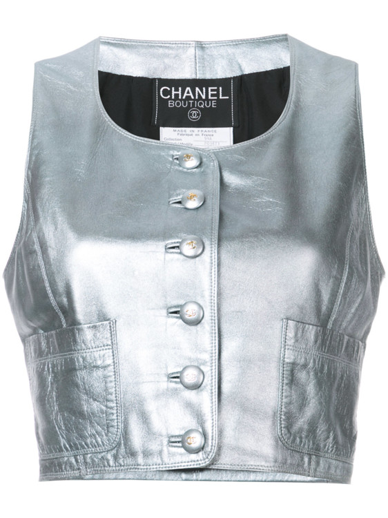 Серебристый жилет из кожи ягненка, Chanel Vintage
