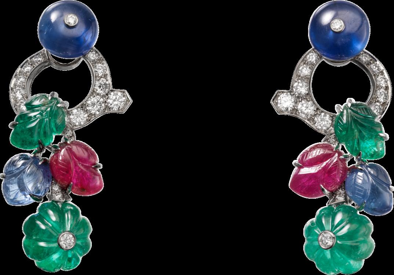 Серьги Magicien, платина, изумруды, сапфиры, рубины, бриллианты, Cartier High Jewelry