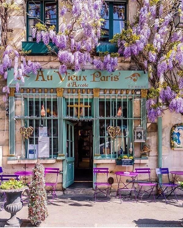 Кафе Au Vieux Paris d'Arcole находится на 24 Rue Chanoinesse и привлекает бирюзовым фасадом, обрамленным сиренью. Лучшее время для посещения - лето.