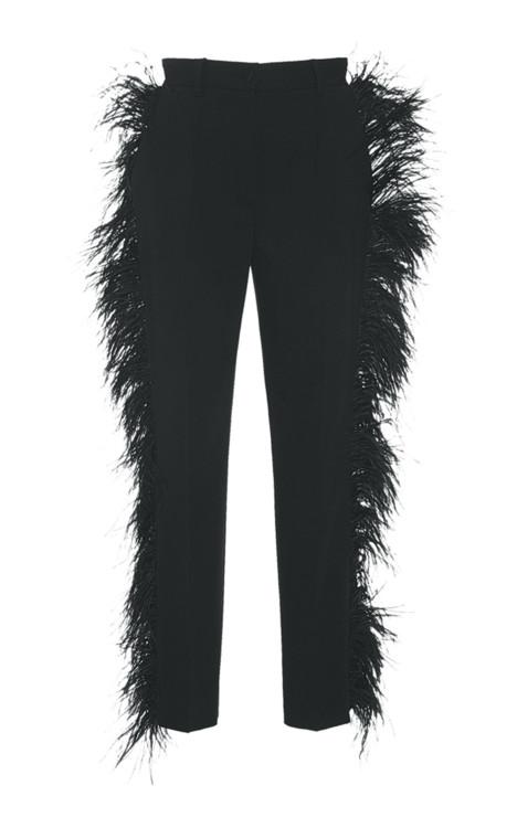 Шерстяные брюки, расшитые перьями марабу, Dolce & Gabbana