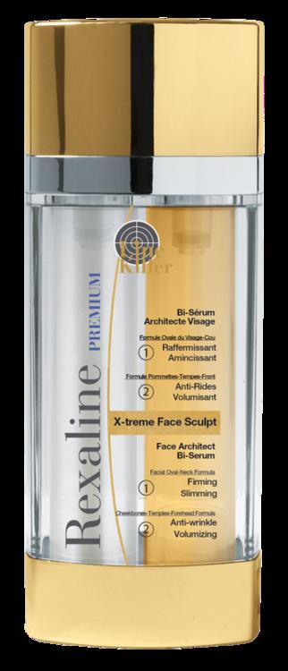 Подвійна сироватка для зрілої шкіри X-treme Face Sculpt, Rexaline діє як ботокс: розслаблює м'язи і підтягує шкіру. Результат – сяюче гладке обличчя.
