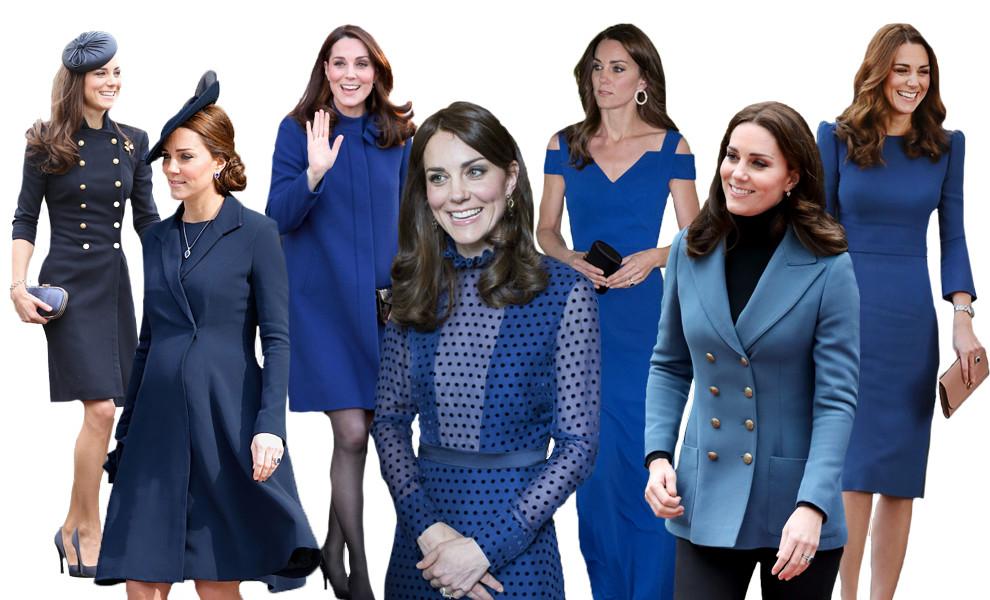 Кейт Мидлтон в синих нарядах