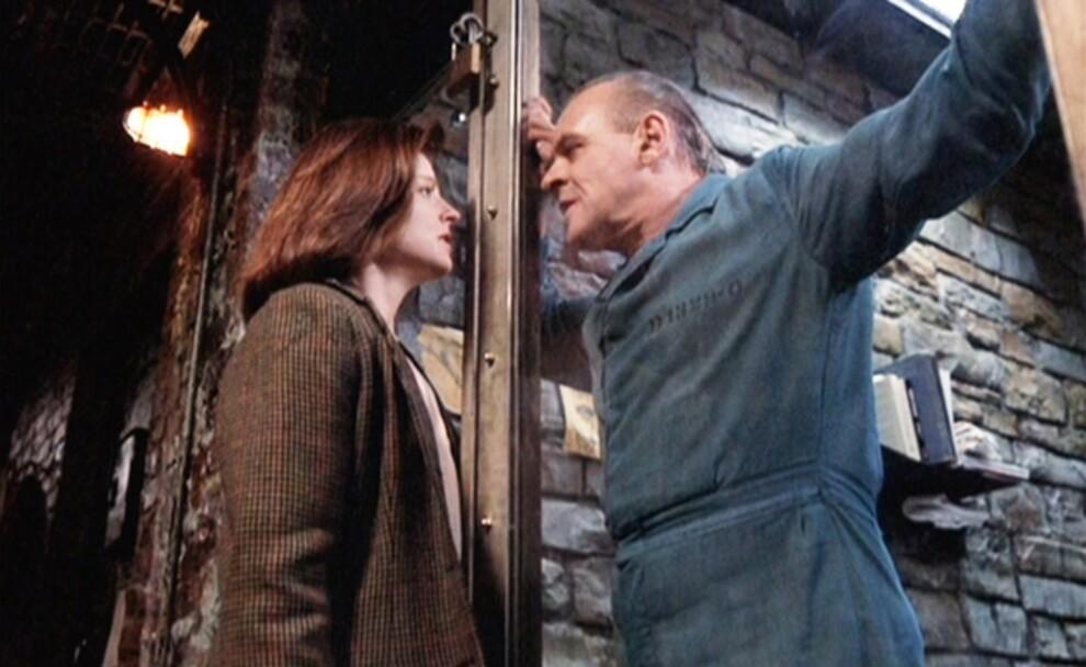 Джоди Фостер и Энтони Хопкинс в фильме «Молчание ягнят», 1991