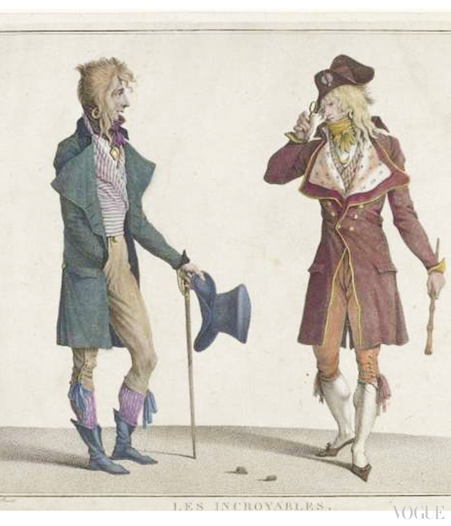 Les Incroyables, c1796, Jean Louis Darcis after Horace Vernet. Stipple engraving, hand-coloured