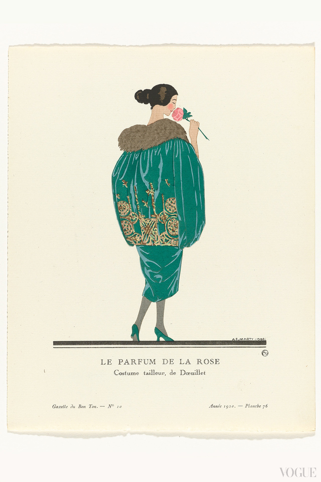 Woman dressed in a green velvet evening suit, with golden embroidery and fur collar, by couturier Doeuillet, Gazette du Bon Ton, 1920