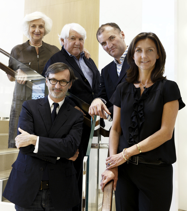 The Cassegrain family: Director of Retail Operations Mich?le and President Philippe Cassegrain with their children, CEO Jean, Olivier – Managing Director of Longchamp US – and Artistic Director Sophie