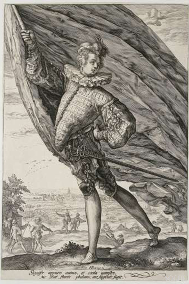 Standard bearer with breastplate to insinuate good posture, 1587, engraving