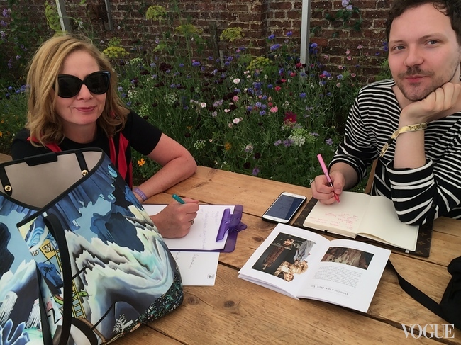 Sarah Mower and Alexander Fury planning the mediaeval fashion show at Port Eliot