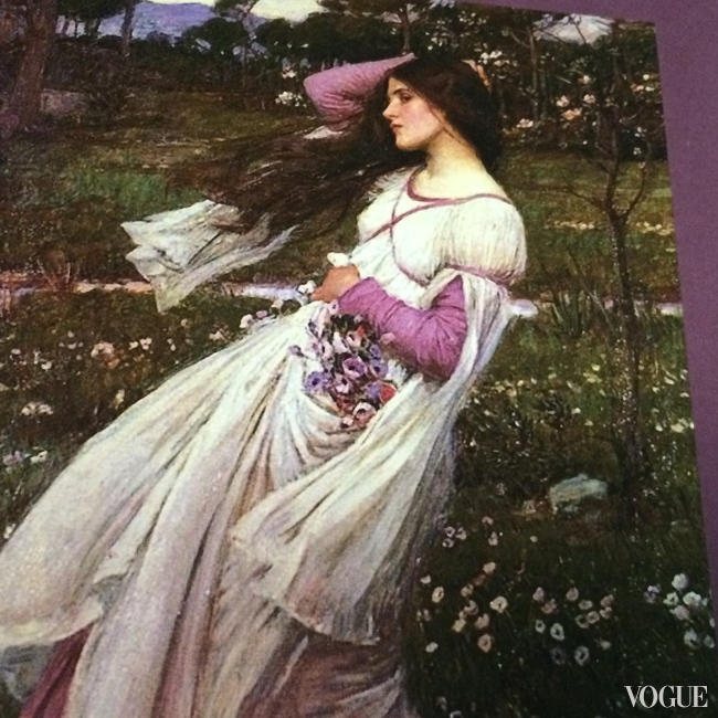 A Pre-Raphaelite beauty captured on canvas in Windflowers by John William Waterhouse, 1903