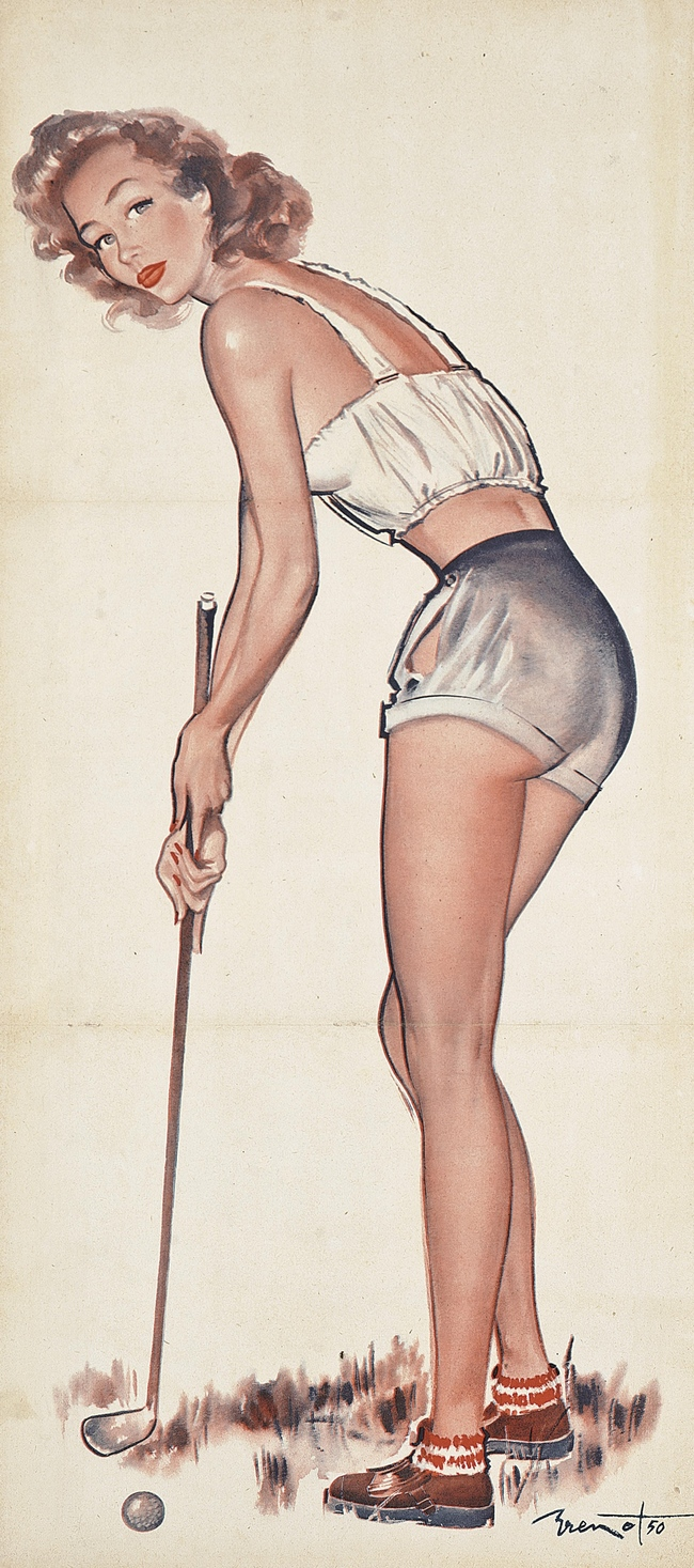 Lot 41. Pierre-Laurent Brenot (1913-1998). Golfing Pin-Up. Starting bid: ?500