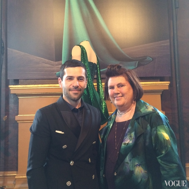 Suzy Menkes with Alexis Mabille at his fashion display in Paris at the Palais Garnier, July 2015