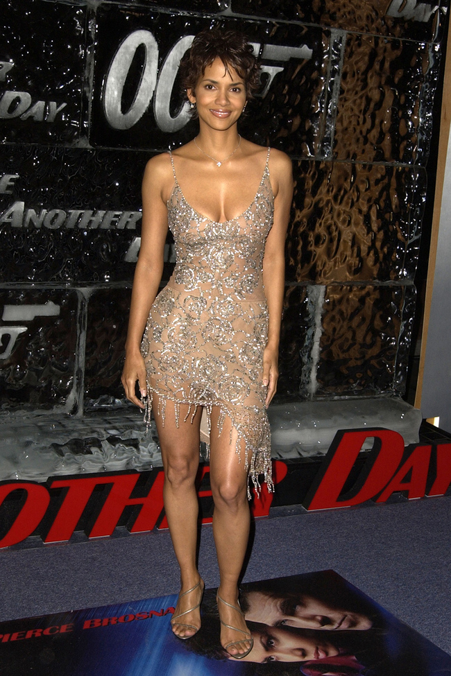 Halle Berry wearing Collette Dinnigan to the Los Angeles premiere of 'Die Another Day'