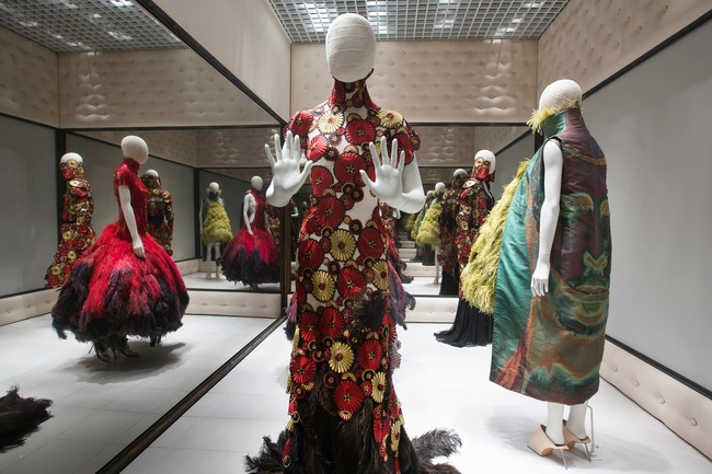 Installation view of Voss, Alexander McQueen Savage Beauty at the V&A CREDIT Victoria and Albert Museum London