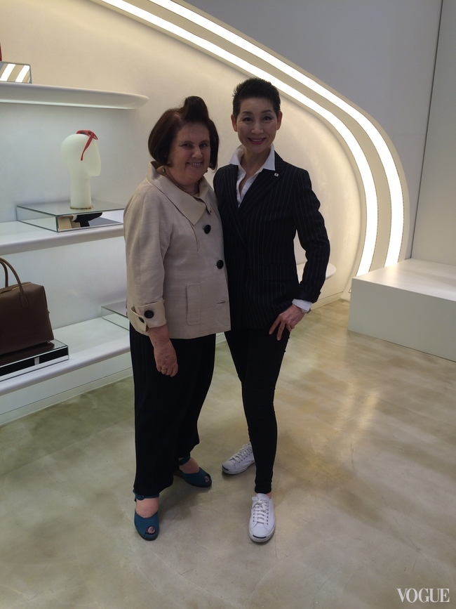 Kim Sung-Joo and Suzy Menkes in MCM's Seoul flagship store