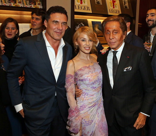 At the book signing: Andre Balazs of Chiltern Street Firehouse House (left) Kylie Minogue (center) Valentino (right)