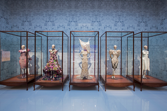 Installation view of Romantic Naturalism gallery, Alexander McQueen Savage Beauty at the V&A CREDIT Victoria and Albert Museum London
