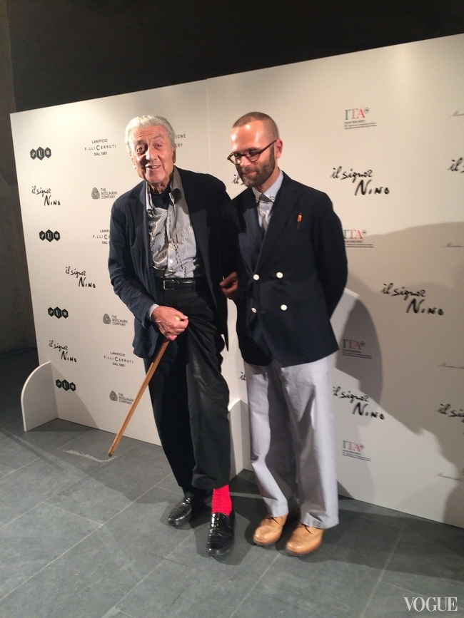 Nino with Angelo Flaccavento, the show's curator