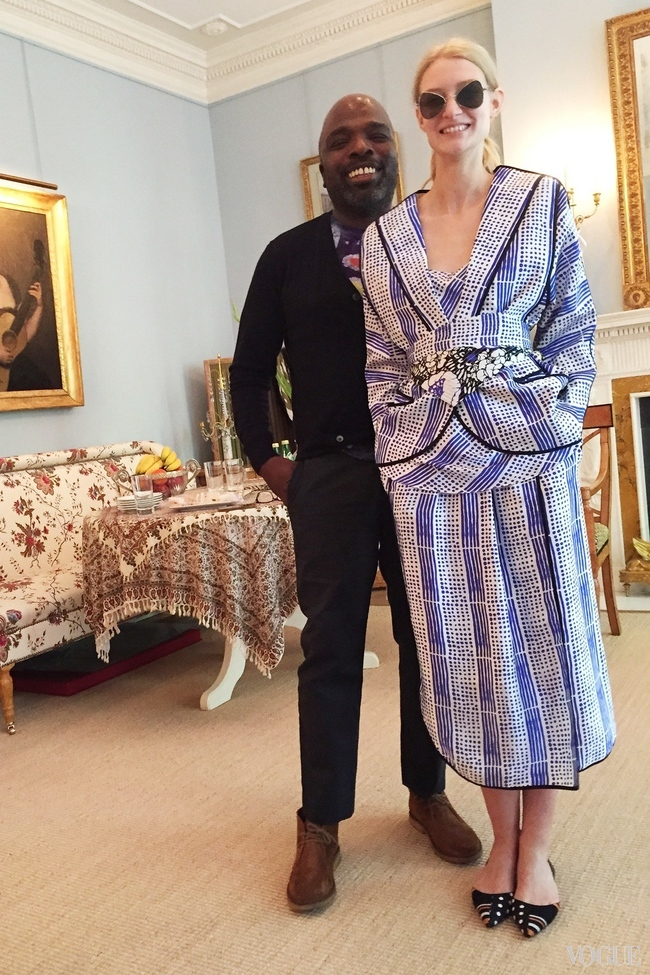 Duro Olowu and a model at his spring/summer 2016 presentation, held in a private home in London