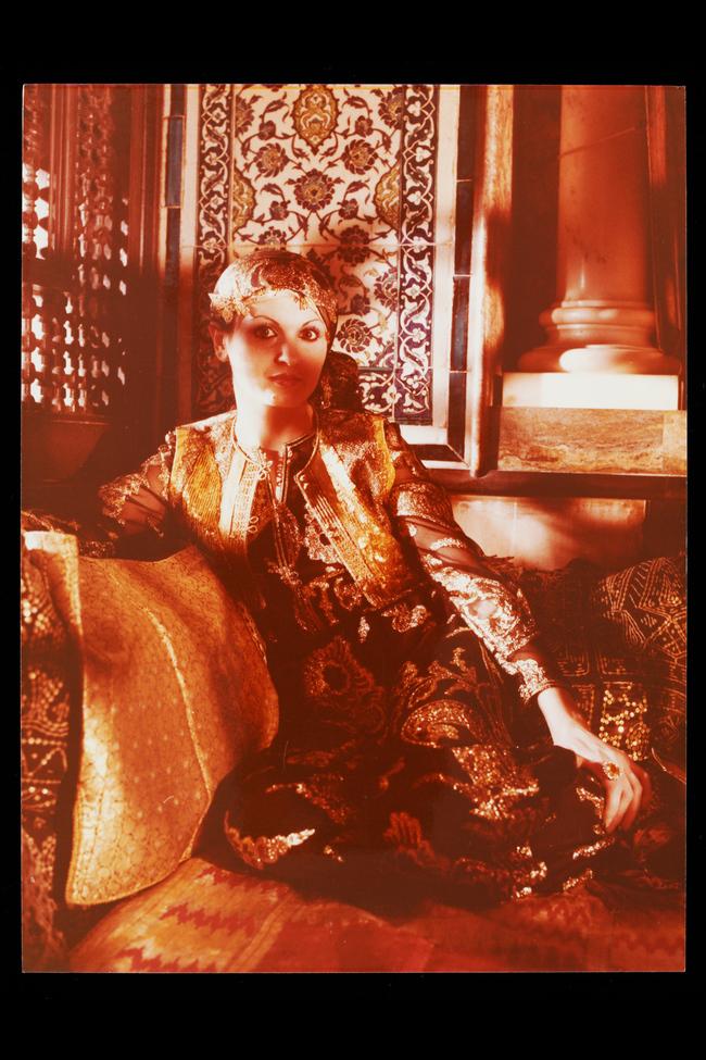 Lebanese writer Hanan al-Shaykh modelling Thea Porter at Leighton House, 1981