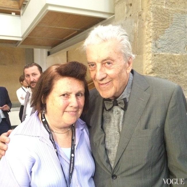 Suzy with Nino Cerruti at the opening of the exhibition celebrating the designer, his wardrobe and his inimitable style