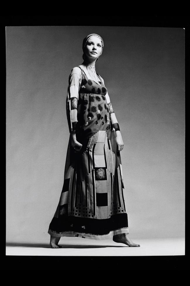 Maudie James modelling a multi-layered silk-chiffon skyscraper-print dress in 1970. Photograph by Patrick Hunt