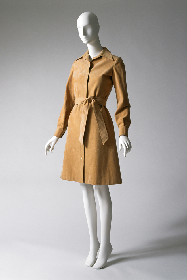 Tan suede shirt dress by Halston, 1972