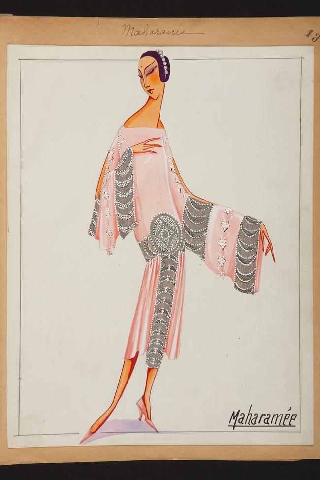 Платье 'Maharan?e' иллюстрация, выполненная гуашью, 1925 г.