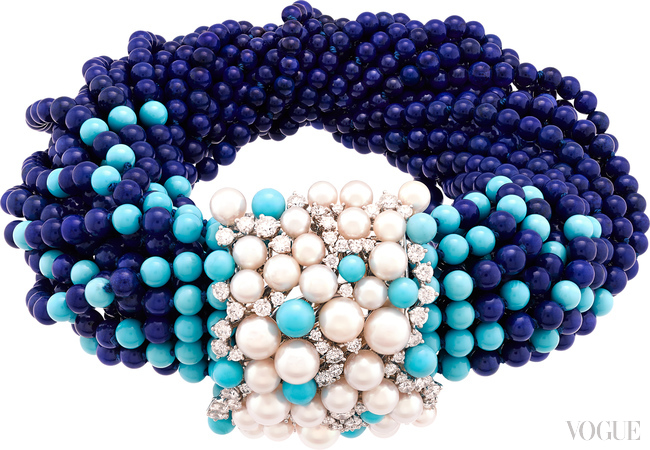 MEDITERRANEAN SEA:  Rouleau Azur bracelet with lapis lazuli, turquoise, pearls and diamonds