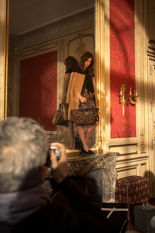 Alexa Chung models the Le Pliage Heritage bag campaign, at Ch?teau des Ormes, France