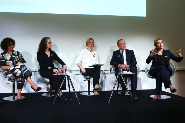 The panel: Professor Dilys Williams, Professor Frances Corner, Francine Lacqua, Fran?ois-Henri Pinault and Marie-Claire Daveu