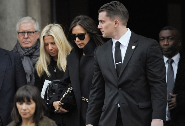 Victoria Beckham at the Louise Wilson memorial service