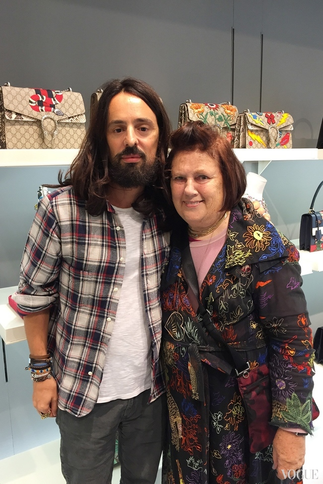 ALESSANDRO MICHELE, CREATIVE DIRECTOR OF GUCCI, WITH SUZY MENKES IN THE GUCCI SHOWROOM IN MILAN