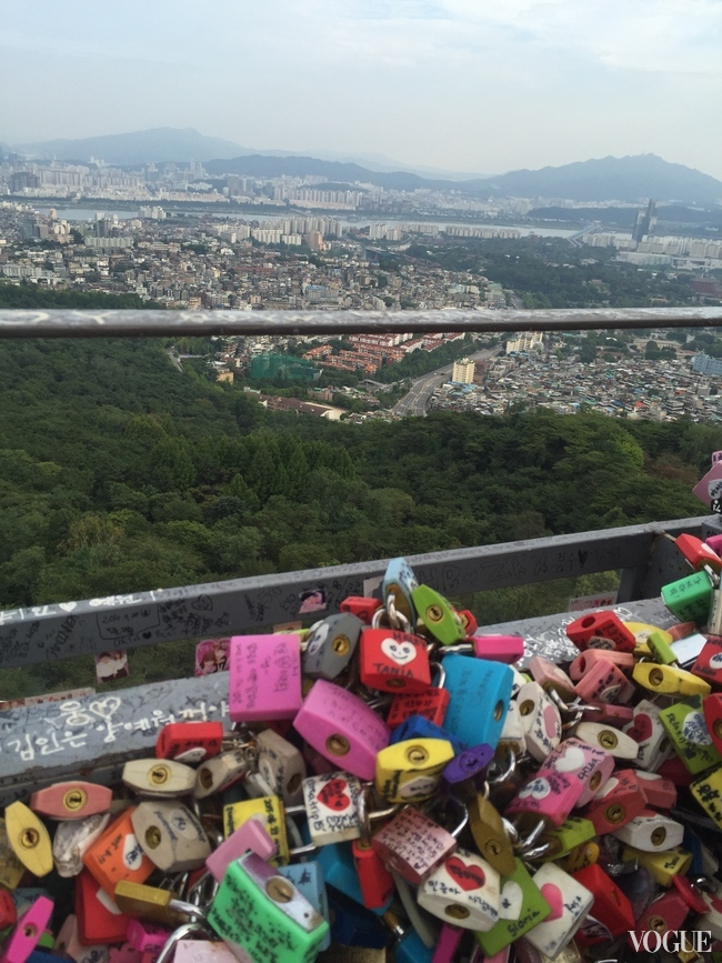 Love padlocks embellish the N Seoul Tower