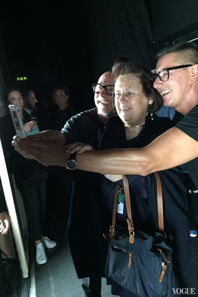 "Suzy Menkes with ""the boys"" Dolce & Gabbana"