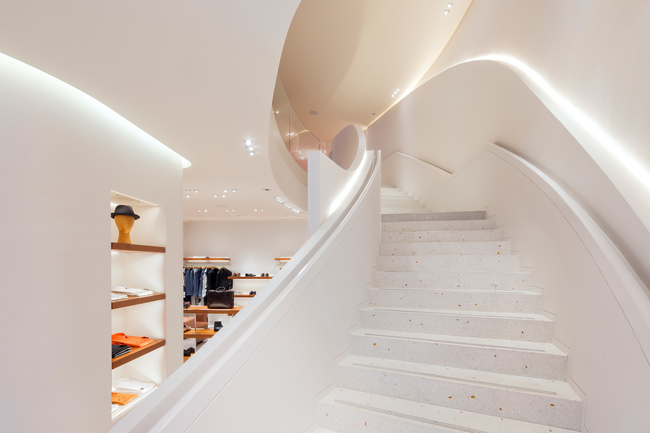 Staircase to the first floor of Herm?s New Bond Street