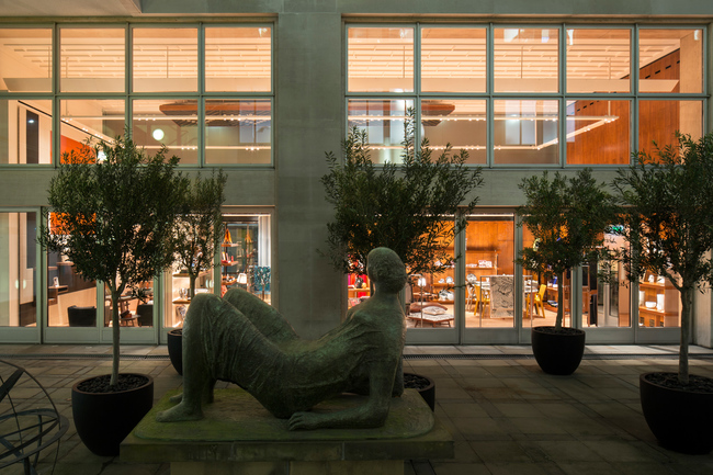 A reclining Henry Moore figure sits on the patio of the refurbished Herm?s New Bond Street store