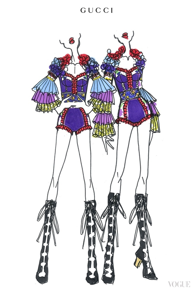 "An Alessandro Michele sketch for the backing dancers on Madonna's ""Rebel Heart"" tour"