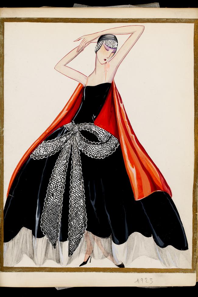 Вечернее платье La Cavallini из черной тафты, украшенное «узлом», расшитым жемчугом, кристаллами и металлической нитью