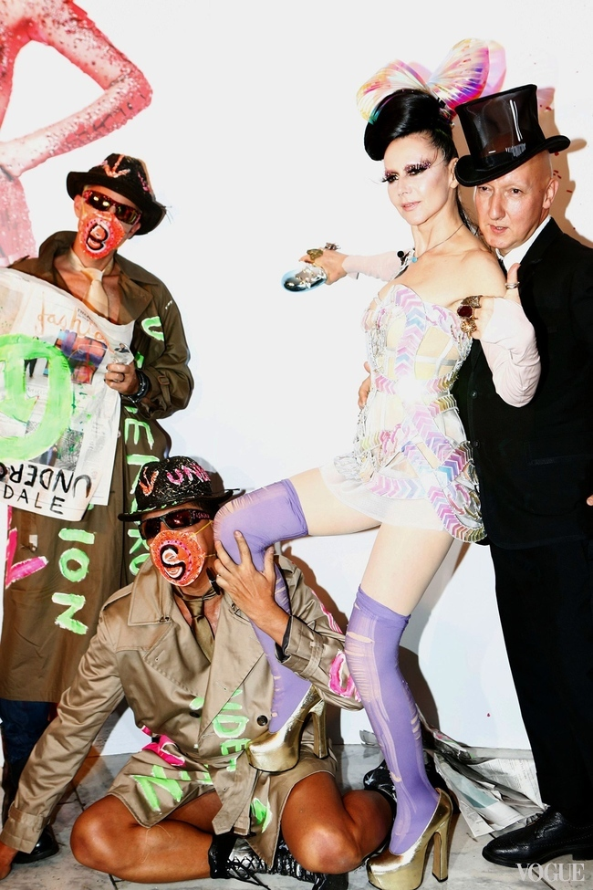 "Susanne Bartsch with Stephen Jones (right), Gazelle Paulo and Scooter Laforge at last night's party for the opening of her exhibition at FIT, ""Fashion Underground: The World of Susanne Bartsch"""