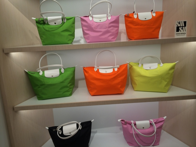 Le Pliage bags stacked up on the shelves of the new Champs-Elys?es store
