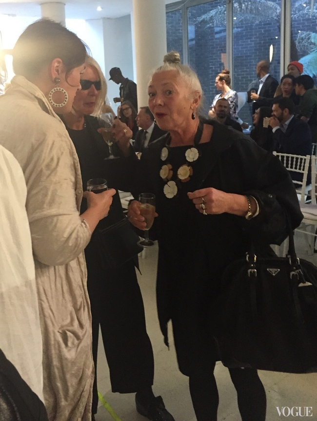 Designer Holly Fulton, who graduated from the RCA in 2008, with RCA honorary fellow and visiting professor Betty Jackson and former head of RCA, Wendy Dagworthy