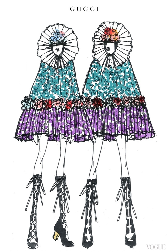 "Alessandro Michele's costume sketch for the ""Rebel Heart"" tour"